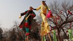 Folk artists perform at the opening ceremony of the Spring Festival Temple Fair, Beijing, 9 Feb