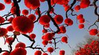 Trees decorated with lanterns in Temple of Earth park, Beijing.