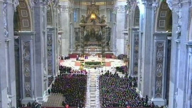 Members of the Knights of Malta gathered in St Peter's