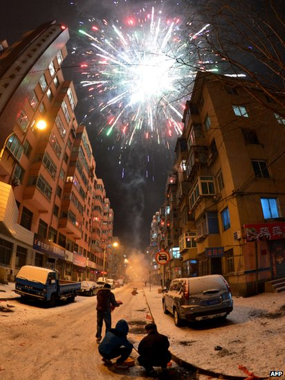 a firework explodes above the chinese town of dandong 9 february 2013