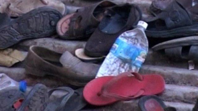 Shoes after stampede