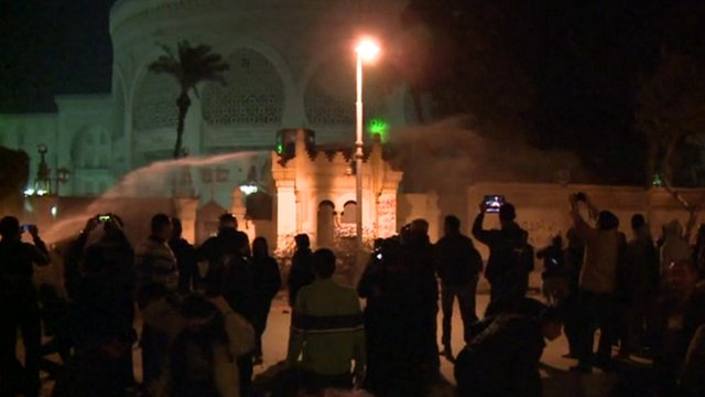 Water cannon fired at protesters