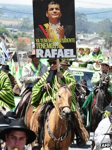 Correa supporters in Machachi, Ecuador, 17 Janaury 2013 with banner reading: We already have a president, we have Rafael