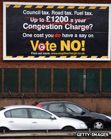 Ad campaign against a congestion charge for Manchester