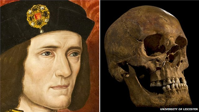Richard III portrait compared to Greyfriars skull