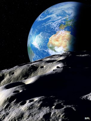 Asteroid and Earth artwork