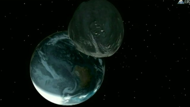 Computer generated image of the Earth and asteroid