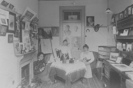 Group of women in a room at Royal Holloway in the 1890s