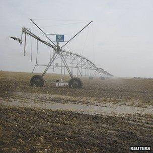 Agriculture sprinkler system (Image: Reuters)