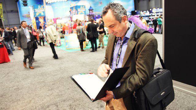 Board game designer David Fox at Toy Fair