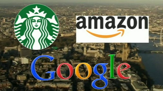 Logos for Starbucks, Amazon and Google, all accused of avoiding paying tax in the UK