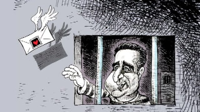 Cartoon of political prisoner in jail