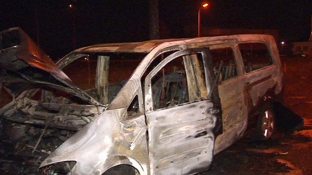 Burnt out car near Brussels Airport