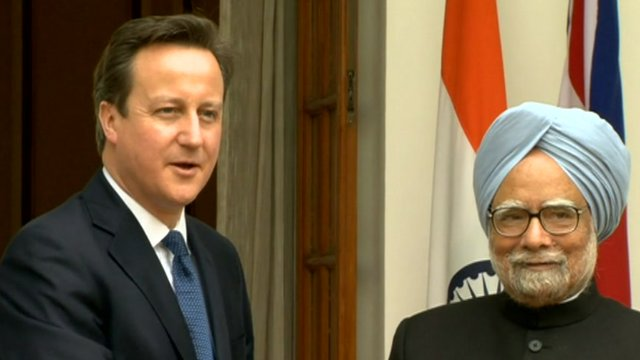 UK Prime Minister David Cameron with Indian PM Manmohan Singh