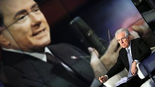 Mario Monti appearing on TV show