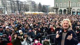 Beppe Grillo at rally in Bergamo, Italy