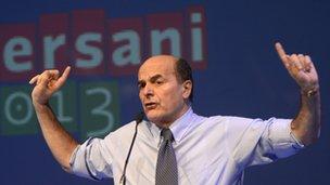 Pier Luigi Bersani at election rally in Florence