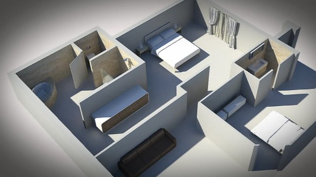 Graphic of the inside of Oscar Pistorius' home