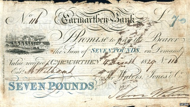 One of the bank notes up for auction