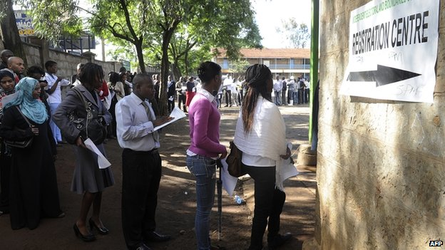 Kenyans register as voters for the March 2013 general elections on 18 December 2012 in the capital Nairobi