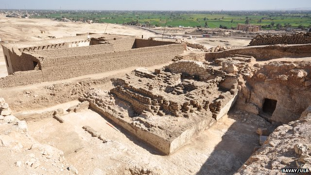 Remains of the mudbrick pyramid of vizier Khay, in the courtyard of an earlier tomb on the hill of Sheikh Abd el-Qurna