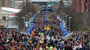 Fans arriving at Wembley for the Capital One Cup final