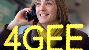 Woman using new 4G network from EE