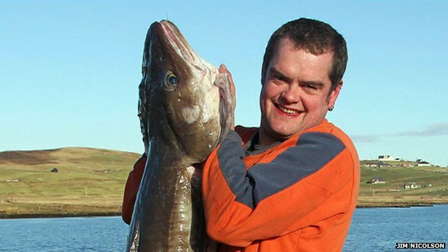 James Isbister and the 6ft long ling fish