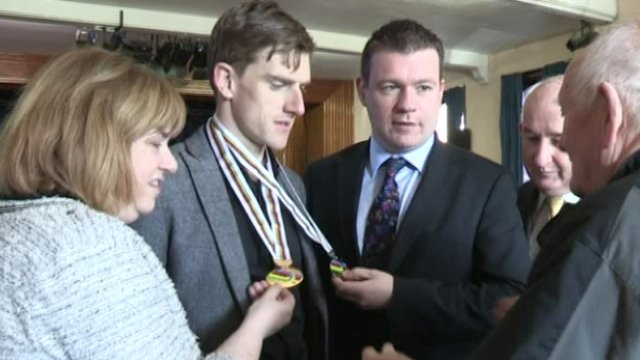 Martyn Irvine shows off his world championship medals in Dundalk on Tuesday