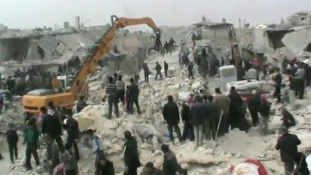 Still from footage which is thought to have been filmed in Aleppo