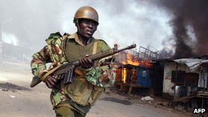 Soldier during the post-election violence in Kenya, 2007