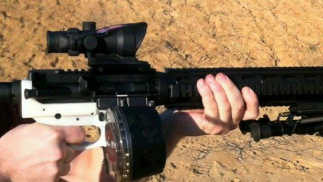 White section of gun made on 3D printer