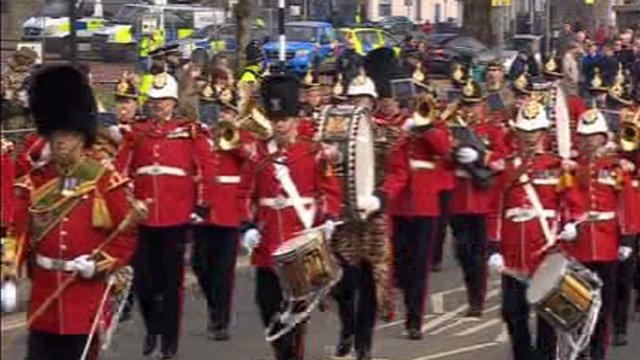 Parade by the 3rd Battalion the Royal Welsh in Swansea