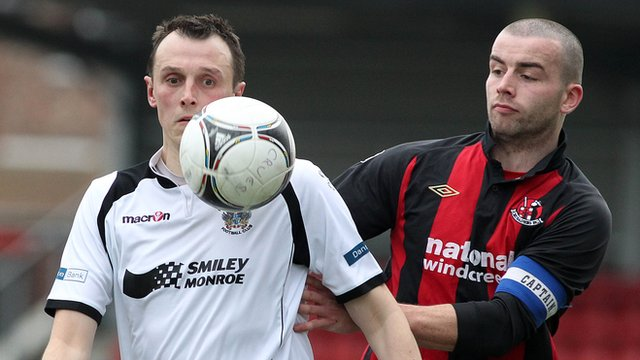 Match action from Crusaders against Lisburn Distilery