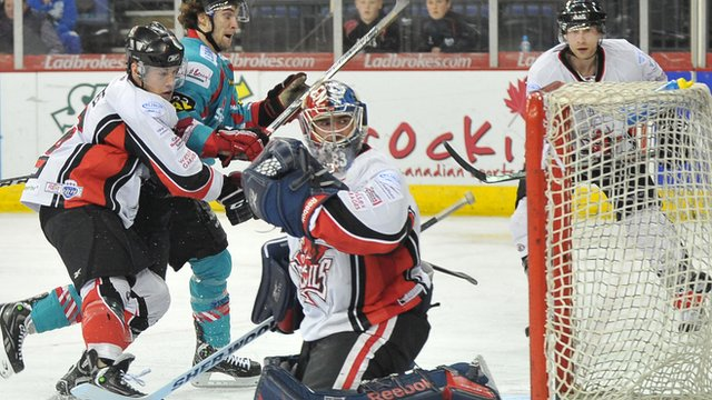 Match action from Belfast Giants against the Cardiff Devils at the Odyssey Arena