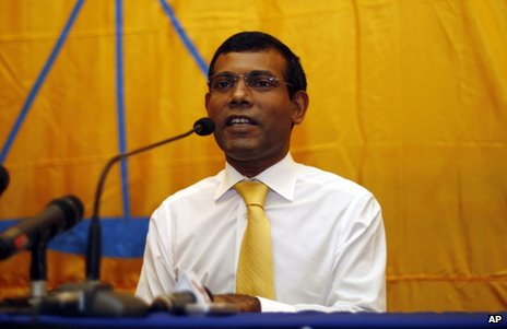 Mohamed Nasheed at a news conference in Male, the Maldives, 23 February