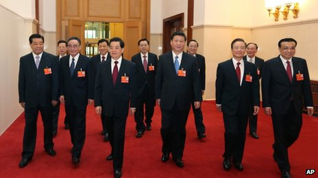 China's new and old leaders at the National People's Congress at the Great Hall of the People in Beijing, 5 March 2013