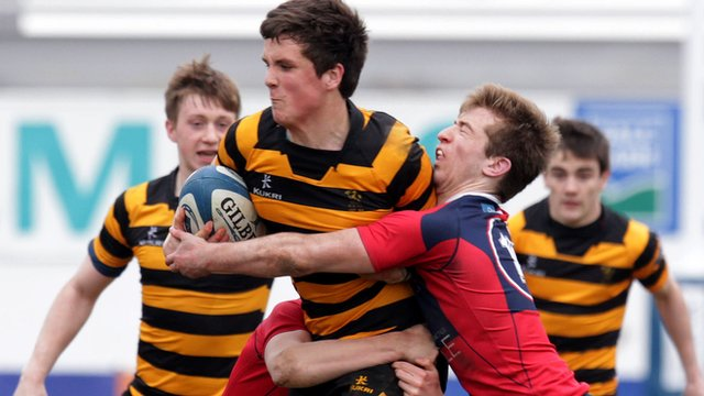 Match action from RBAI against Ballyclare in the Schools' Cup semi-final
