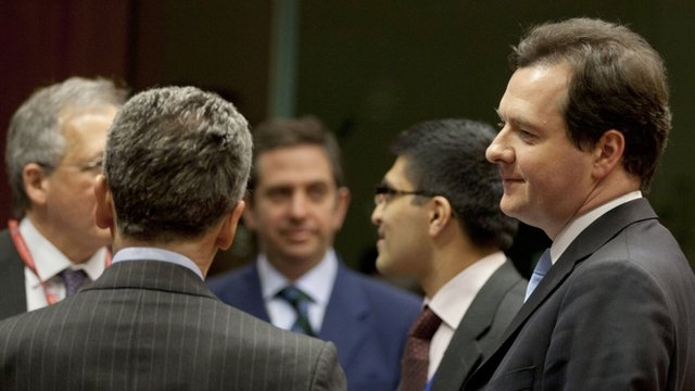 George Osborne, right, speaks with Italian Economy Minister Vittorio Grilli