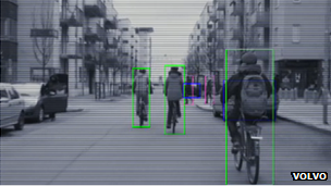 Cyclists detected by Volvo system