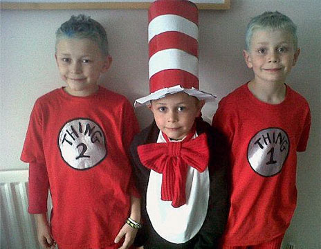 Cat in the Hat and Thing 1 and Thing 2