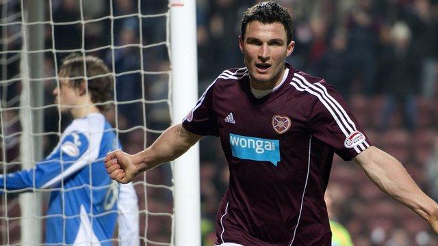 John Sutton scored in Hearts' 2-0 win against St Johnstone