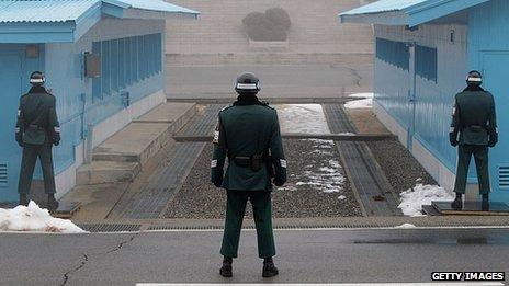 South Korean guards at the Panmunjom border crossing. 27 Feb 2013