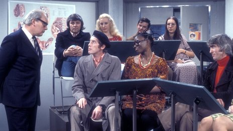 Frank Spencer in Some Mothers Do 'Ave 'Em attends a prenatal class
