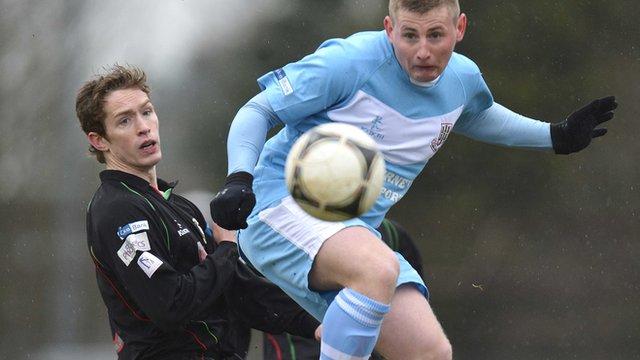 Match action from Ballymena United against Glentoran