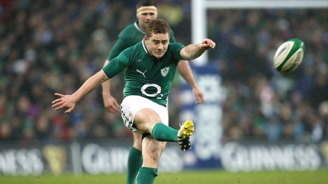 Paddy Jackson kicks a penalty against France