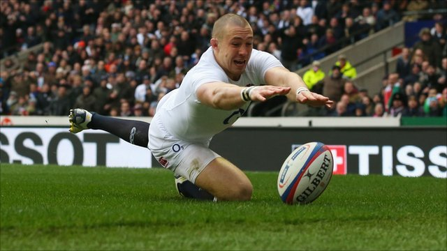 England's Mike Brown fails to touchdown during their Six Nations match with Italy