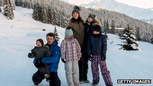 Crown Prince Frederik and Crown Princess Mary with their four children in Verbier, Switzerland