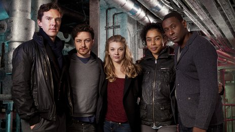 Neverwhere cast: (L-R) Islington (BENEDICT CUMBERBATCH), Richard (JAMES MCAVOY), Door (NATALIE DORMER), Hunter (SOPHIE OKONEDO), Marquis (DAVID HAREWOOD)