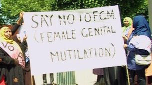 Women in Bristol protesting against FGM